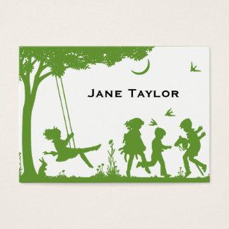 Cartão De Visitas O Silouette das crianças