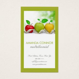 Cartão De Visitas O treinador Apple da nutrição do nutricionista