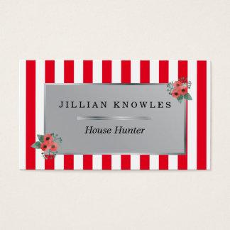Cartão De Visitas O vermelho listra todo o caçador de casa floral da