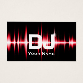 Cartão De Visitas O vermelho moderno do DJ bate a música