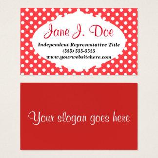 Cartão De Visitas O vermelho retro pontilha a beleza