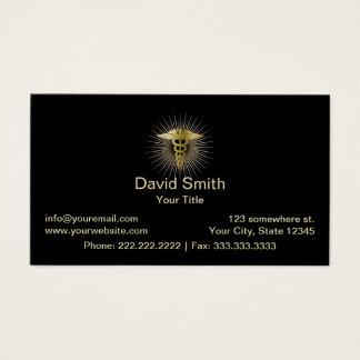 Cartão De Visitas Obscuridade elegante do Caduceus médico do ouro