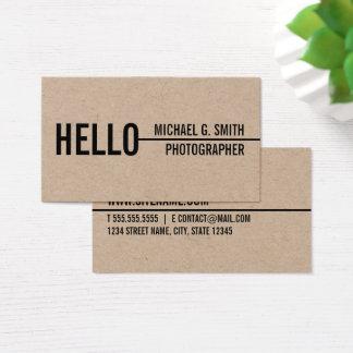 """Cartão De Visitas """"Olá!"""" papel de embalagem Minimalista moderno à"""