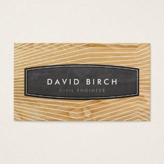 Cartão De Visitas Olhar de madeira da grão do crachá masculino