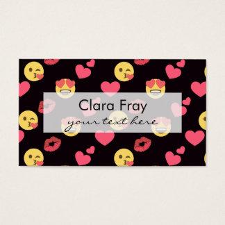 Cartão De Visitas os corações doces bonitos do amor do emoji beijam
