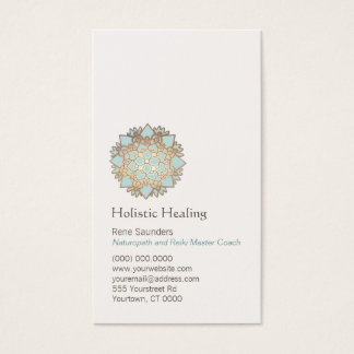 Cartão De Visitas Ouro azul saúde holística e natural de Lotus