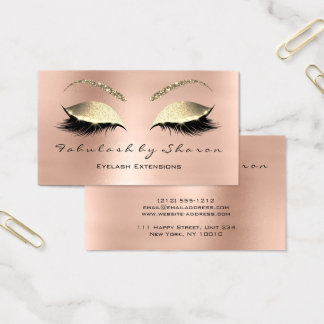 Cartão De Visitas Ouro cor-de-rosa do cristal do brilho dos chicotes