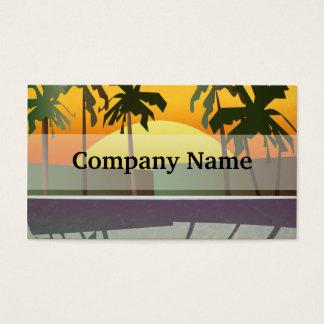 Cartão De Visitas Paisagem tropical do por do sol, palmeiras