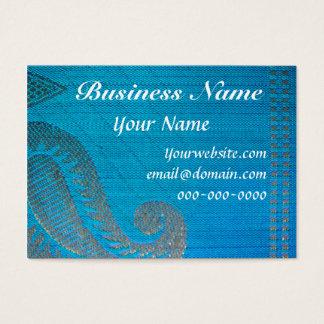Cartão De Visitas Pano de seda de Paisley do azul & do ouro