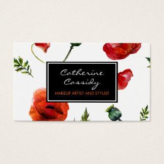 Cartão De Visitas Papoilas vermelhas, floral preto e branco,