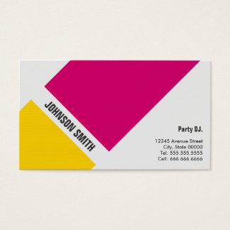 Cartão De Visitas Partido DJ - Amarelo cor-de-rosa simples