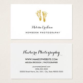 Cartão De Visitas Pegadas elegantes do ouro do falso do fotógrafo