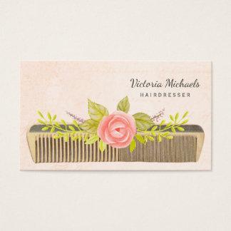 Cartão De Visitas Pente e rosas do vintage para o cabeleireiro