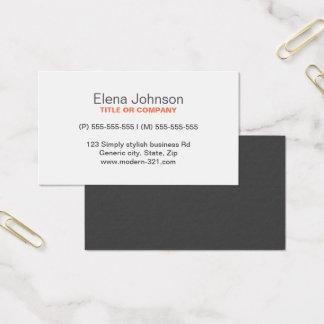 Cartão De Visitas Pessoal elegante simples genérico à moda cinzento