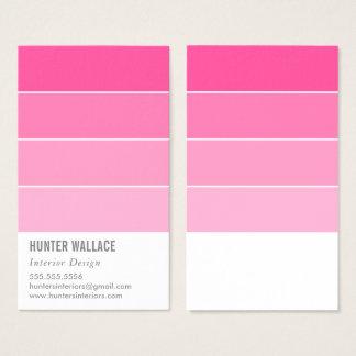 Cartão De Visitas PINTE o rosa moderno do ombre da decoração da