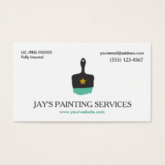 Cartão De Visitas Pintor de casa, logotipo da escova de pintura