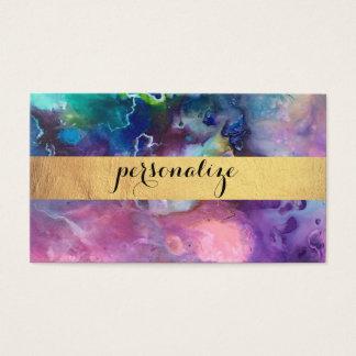Cartão De Visitas pintura roxa colorida do teste padrão da textura