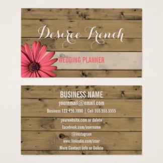 Cartão De Visitas Planejador de madeira rústico social do casamento