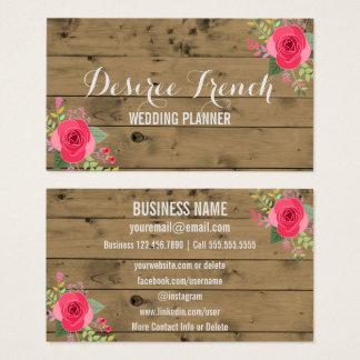 Cartão De Visitas Planejador floral de madeira rústico social do