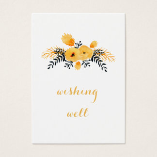 Cartão De Visitas poço de desejo floral da aguarela cinzenta amarela