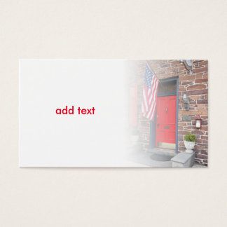 Cartão De Visitas porta vermelha e bandeira americana para a casa