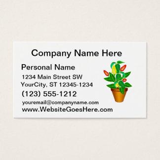 Cartão De Visitas Pote com a planta vermelha e amarela da pimenta