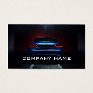 Cartão De Visitas Preto azul automotriz do mecânico de carro moderno
