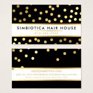 Cartão De Visitas Preto bonito moderno do ouro do teste padrão de