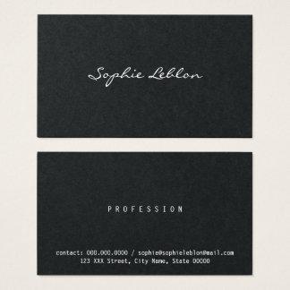 Cartão De Visitas preto e branco elegante minimalista
