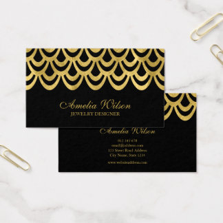 Cartão De Visitas Preto elegante e teste padrão geométrico corajoso