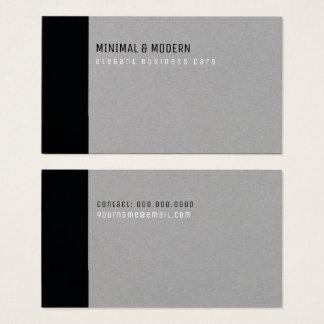 Cartão De Visitas preto elegante mínimo & moderno/cinzas