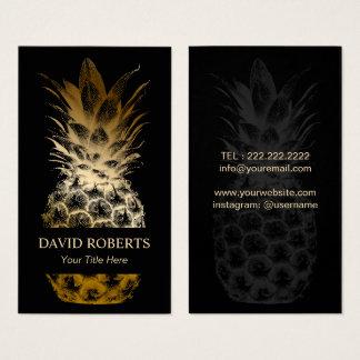 Cartão De Visitas Preto moderno de abastecimento do evento & abacaxi