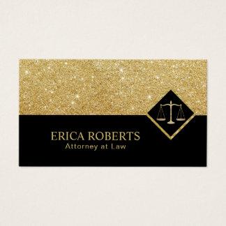 Cartão De Visitas Preto moderno do advogado & advogado do brilho do