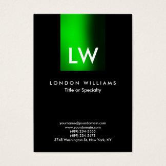 Cartão De Visitas Preto verde moderno na moda do monograma da listra