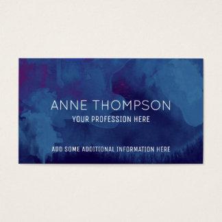 Cartão De Visitas profissional azul da aguarela