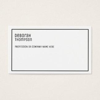 Cartão De Visitas profissional branco e limpo elegante minimalista
