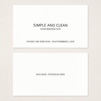 Cartão De Visitas profissional liso/limpo branco elegante