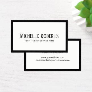 Cartão De Visitas Profissional preto elegante minimalista da beira