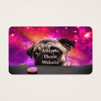 Cartão De Visitas pug do espaço - comida do pug - biscoito do pug