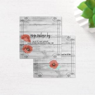 Cartão De Visitas Quadrado A papoila de madeira branca rústica floresce o