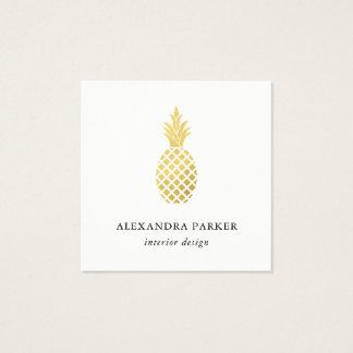 Cartão De Visitas Quadrado Abacaxi elegante do ouro do falso