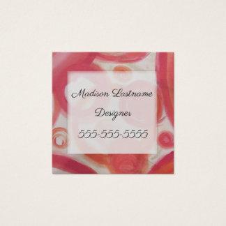 Cartão De Visitas Quadrado Abstrato do rosa e da laranja