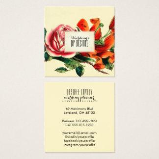 Cartão De Visitas Quadrado Aguarela do vintage do planejador | do casamento