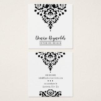 Cartão De Visitas Quadrado Branco à moda elegante do preto do damasco do