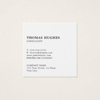 Cartão De Visitas Quadrado Consultante branco elegante simples profissional