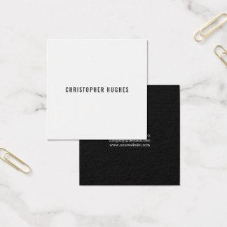 Cartão De Visitas Quadrado Consultante branco preto minimalista profissional