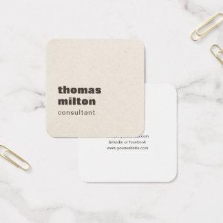 Cartão De Visitas Quadrado Consultante de papel simples moderno de Brown da