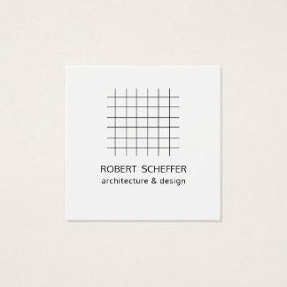 Cartão De Visitas Quadrado Desenhista branco moderno minimalista do arquiteto