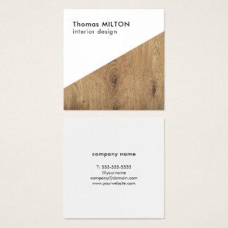 Cartão De Visitas Quadrado Design de interiores de madeira branco elegante
