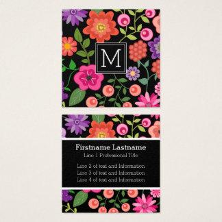 Cartão De Visitas Quadrado Flores coloridas com monograma preto do fundo